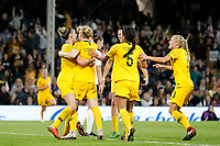 GOAL - Clare Polkinghorne of Australia Women is the goal scorer for the visitors during the Women's international friendly match between England Women and Australia at Craven Cottage, London, England on 9 October 2018. Photo by Carlton Myrie / PRiME Media Images.