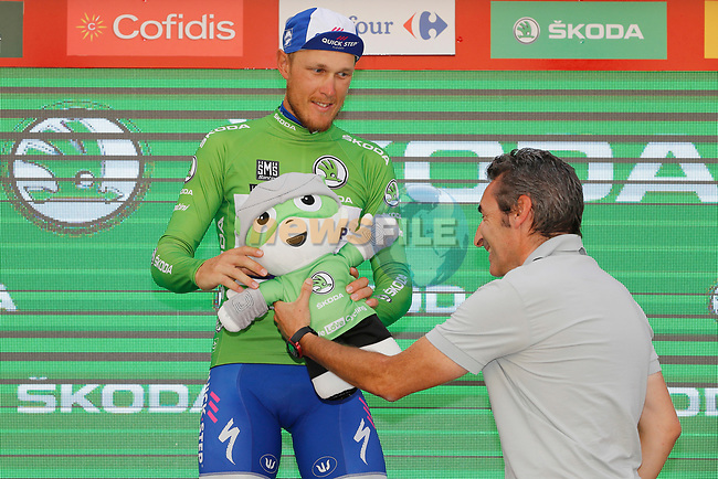 Matteo Trentin (ITA) Quick-Step Floors retains the points Green Jersey on the podium at the end of Stage 7 of the 2017 La Vuelta, running 207km from Ll&iacute;ria-Cuenca, Spain. 25th August 2017.<br /> Picture: Unipublic/&copy;photogomezsport   Cyclefile<br /> <br /> <br /> All photos usage must carry mandatory copyright credit (&copy; Cyclefile   Unipublic/&copy;photogomezsport)