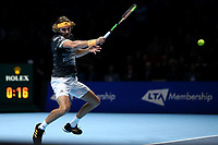 17th November 2019; 02 Arena. London, England; Nitto ATP Tennis Finals; Stefanos Tsitsipas (Greece) with a forehand return to Dominic Thiem (Austria) during the mens singles final - Editorial Use