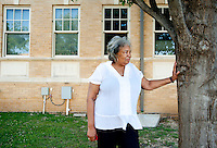 Burlyce Sherrell Logan (cq), a 73-year old woman who is graduating from the University of North Texas, next to the building where she lived in on campus at the University of North Texas in Denton, Texas, Friday, May 6, 2011. Burlyce first attended the university in 1956, as part of.the group of African-Americans who were integrating it, but the atmosphere was so hostile she dropped out...Photo by Matt Nager