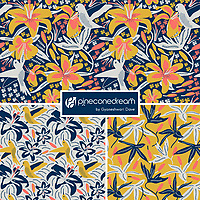 &quot;Hummingbird In Lilies&quot; is a hand illustrated scalable vector surface pattern collection - inspired by living coral - Pantone color of the year 2019 along with summer days lilies and hummingbirds.<br />
