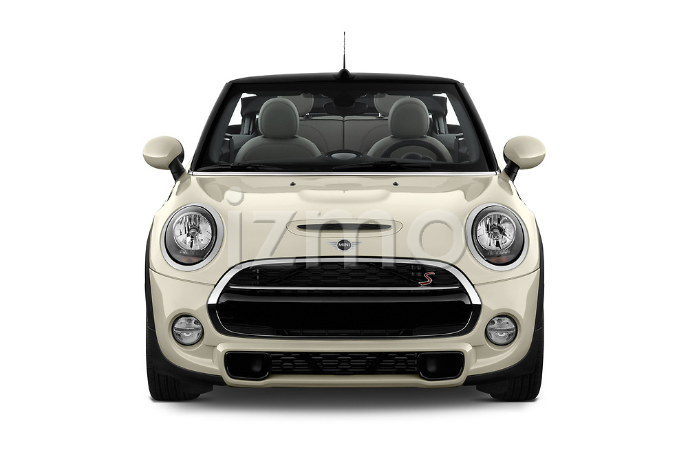 Car photography straight front view of a 2019 Mini Cooper S Signature 2 Door Convertible