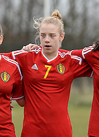 20150226 - Tubize , Belgium : Belgian Elena Dhont pictured during the friendly female soccer match between Women under 17 teams of  Belgium and Scotland  . Thursday 26th February 2015 . PHOTO DAVID CATRY