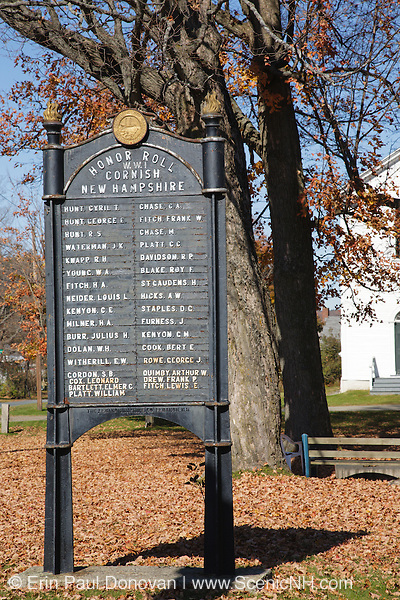 World War One Honor Roll Memorial in the village of Cornish during the autumn months. Located in the Cornish, New Hampshire, USA .