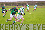 Michael Griffin of Na Gaeil races away from Kevin Forde of Granagh/Ballingarry in the Muster Junior B Football Final last Sunday afternoon in Knockaderry.