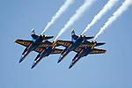 The Blue Angels in diamond formation pass overhead during 2007 San Francisco Fleet Week activities. The U.S. Navy Blue Angel's fly the Boeing built F/A-18 Hornet. Photographed 10/07