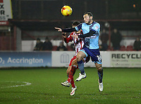 Michael Harriman of Wycombe Wanderers wins a header against Jordan Clark of Accrington Stanley <br /> during the Sky Bet League 2 match between Accrington Stanley and Wycombe Wanderers at the wham stadium, Accrington, England on 28 February 2017. Photo by Tony  KIPAX.