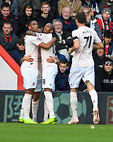 Anthony Martial of Manchester United left is congratulated on scoring by Ashley Young of Manchester United during AFC Bournemouth vs Manchester United, Premier League Football at the Vitality Stadium on 3rd November 2018