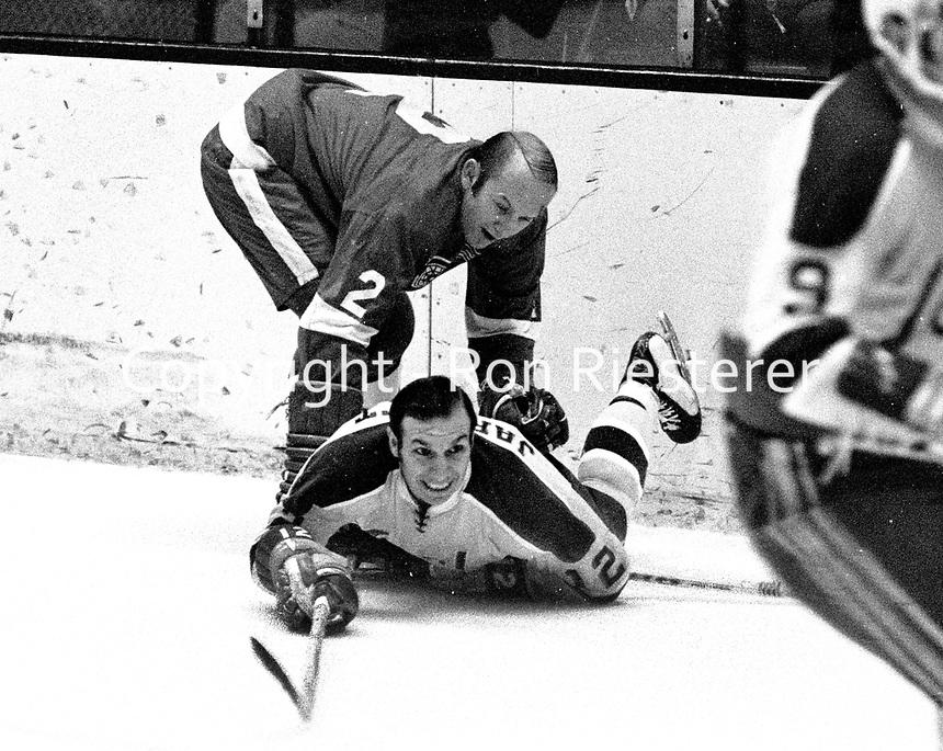 Seals Gary Jarrett on the ice with Gary Bergman...(1971 photo/Ron Riesterer)