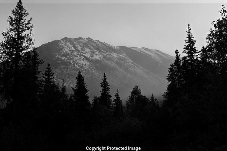 Misty sunrise drive on Kenai Peninsula, Alaska