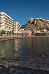 Santa Barbara Castle from Postiguet Beach, Alicante City, Valencia, Spain,Europe