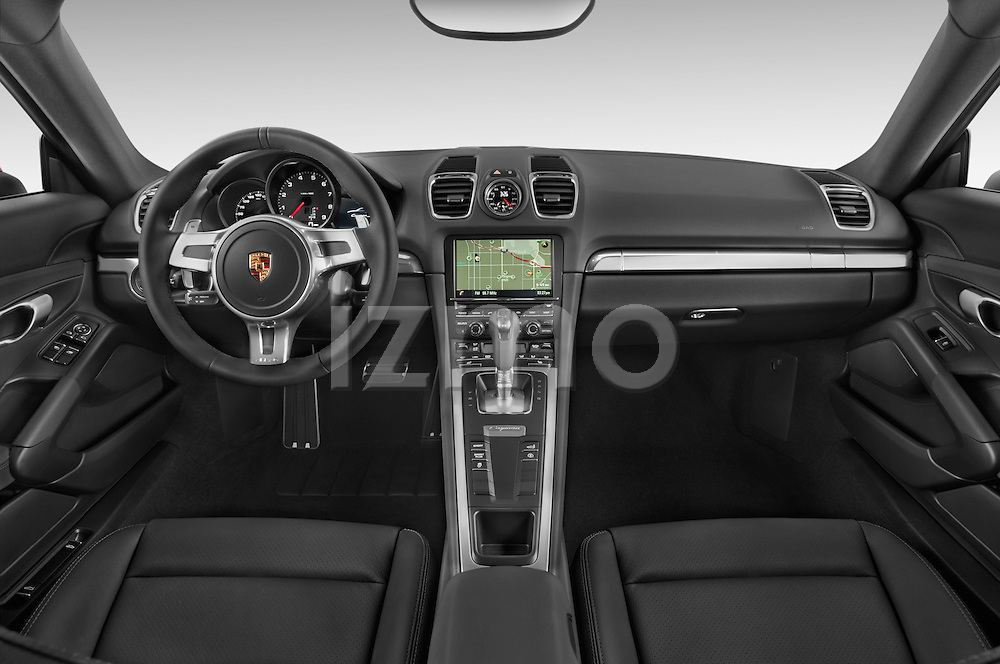 Stock photo of straight dashboard view of a 2015 Porsche Cayman S 2 Door Coupe Dashboard