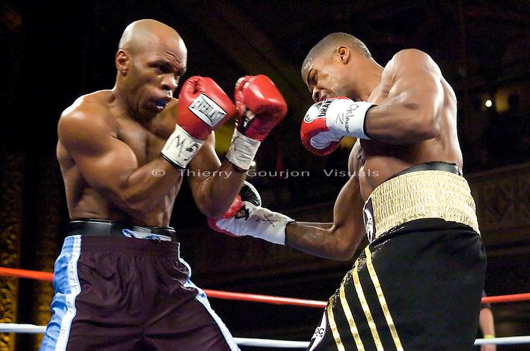 Manhattan Center, N.Y: (r-l) Jaidon Codrington lands against   Carl Cockerham  during their 6 rounds Junior Middleweight fight, Wednesday, June 20, 2007.  Codrington won  by TKO in the 2nd round..