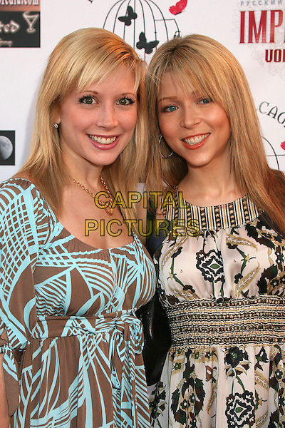 "COURTNEY PELDON & ASHLEY PELDON .""Hats Off For Cancer"" Benefit Party at Sugar Boutique, Hollywood, California, USA..May 9th, 2007.half length cream black pattern brown blue dress.CAP/ADM/BP.©Byron Purvis/AdMedia/Capital Pictures"