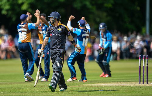 12.07.2015.  Chesterfield, England. Natwest T20 Blast. Derbyshire versus Yorkshire. Derbyshire celebrate after Yorkshire's Glen Maxwell is bowled by Shivsinh Thakor.