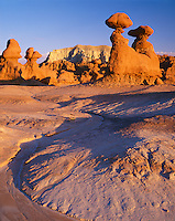 Goblin Valley State Park, UT  <br /> Eroded patterns on the valley floor with goblin and hoodo shapes of Entrada Sandstone in Goblin Valley