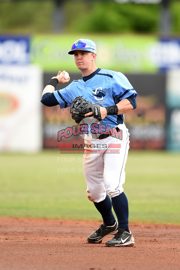 Charlotte Stone Crabs second baseman Thomas Coyle (6) throws to first during a game against the Fort Myers Miracle on April 16, 2014 at Charlotte Sports Park in Port Charlotte, Florida.  Fort Myers defeated Charlotte 6-5.  (Mike Janes/Four Seam Images)