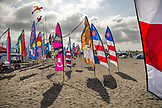 USA, Washington State, Long Beach Peninsula, stationary kites at the International Kite Festival