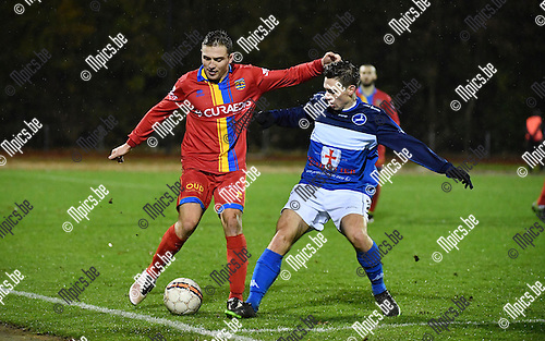 2016-11-12 / Voetbal / Seizoen 2016-2017 / FC Turnhout - Wellen / Stef Heeren (l.) met Steven Dillien  (Turnhout)<br /> <br /> ,Foto: Mpics.be