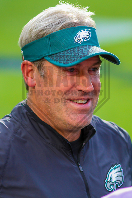 Philadelphia Eagles head coach Doug Pederson during a preseason football game against the Green Bay Packers on August 10, 2017 at Lambeau Field in Green Bay, Wisconsin. Green Bay defeated Philadelphia 24-9.  (Brad Krause/Krause Sports Photography)