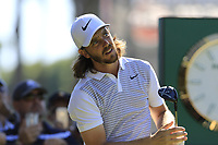 Tommy Fleetwood (ENG) tees off the 1st tee during Thursday's Round 1 of the 2018 Turkish Airlines Open hosted by Regnum Carya Golf &amp; Spa Resort, Antalya, Turkey. 1st November 2018.<br /> Picture: Eoin Clarke | Golffile<br /> <br /> <br /> All photos usage must carry mandatory copyright credit (&copy; Golffile | Eoin Clarke)