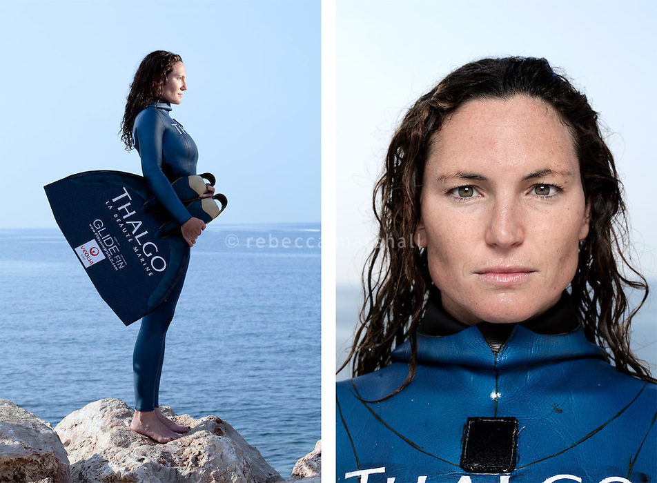 """Aurore Asso, freediver, poses for the photographer at the A.I.D.A. Freediving World Championships, Villefranche-sur-Mer, France, 11 September 2012. Aurore is France's female champion for depth freediving at sea, with a constant weight national record of 75 m.<br /> <br /> Aurore started freediving at the age of 8, on the first of many family holidays to the Greek island of Alonnisos. Here, she spent hours in the water with her parents, looking for fragments of ancient pottery and shells. She has vivid memories of finding sea urchins with her father. While they were still underwater, he would open a sea urchin with a rock, clean it, and then father and daughter would swim to the surface, where they would lie on the water and eat the urchin. """"Better than caviar"""" she claims. <br /> <br /> """"When you freedive, you enter a completely different universe. I don't want to know what parameters might improve my performance. I want to stay connected to my instincts, and the feeling of the water""""<br /> <br /> """"A good dive is when you can leave behind on the surface everything that belongs to the surface"""""""