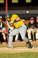 Ariel Tineo (20) of the SUNY Sullivan Generals ducks out of the way of an inside pitch against the County College of Morris Titans on the campus of County College of Morris on April 9, 2013 in Randolph, New Jersey.  The Titans defeated the Generals 12-4.  (Brian Westerholt/Four Seam Images)