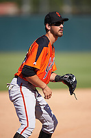 San Francisco Giants Nick Hill (43) during an Instructional League game against the Oakland Athletics on October 5, 2016 at Fitch Park in Mesa, Arizona.  (Mike Janes/Four Seam Images)
