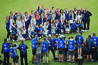 Winning team Europe on the 18th green pose for photographs after the sunday singles at the Ryder Cup, Le Golf National, Paris, France. 30/09/2018.<br /> Picture Phil Inglis / Golffile.ie<br /> <br /> All photo usage must carry mandatory copyright credit (&copy; Golffile | Phil Inglis)