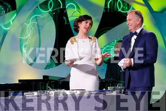 Kerry Rose, Breda O'Mahony with presenter Dáithí Ó Sé in the Dome on Tuesday Night.
