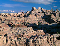 SDBD_002 - USA, South Dakota, Badlands National Park, Eroded, sedimentary formations dominate southeasterly view from the Door Trail, North Unit.