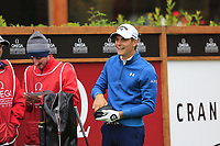 Haydn Porteous (RSA) on the 1st tee during a wet Saturday's Round 3 of the 2017 Omega European Masters held at Golf Club Crans-Sur-Sierre, Crans Montana, Switzerland. 9th September 2017.<br /> Picture: Eoin Clarke | Golffile<br /> <br /> <br /> All photos usage must carry mandatory copyright credit (&copy; Golffile | Eoin Clarke)