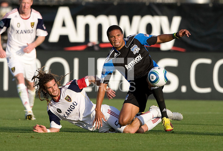 Ryan Johnson of Earthquakes fights for the ball against Kyle Beckerman of Real Salt Lake during the game at Buck Shaw Stadium in Santa Clara, California on March 27th, 2010.   Real Salt Lake defeated San Jose Earthquakes, 3-0.