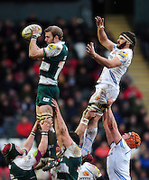 Tom Croft of Leicester Tigers wins the ball at a lineout. Aviva Premiership match, between Leicester Tigers and Exeter Chiefs on March 6, 2016 at Welford Road in Leicester, England. Photo by: Patrick Khachfe / JMP