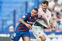 27th October 2019; Estadi Cuitat de Valencia, Valencia, Spain; La Liga Football, Levante versus Espanyol; Ruben Vezo of Levante holds onto Facundo Ferreyra of RC Espanyol  - Editorial Use