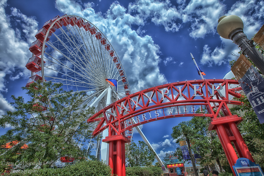 A view of the ferris wheel at Navy Pier in Chicago.