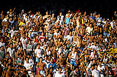 Rio de Janeiro, Brazil. Crowd of supporters in the stands at a football match at the Maracana Stadium.