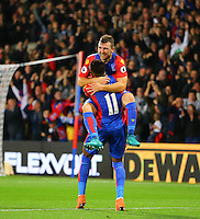 James McArthur and Wilfried Zaha celebrate Crystal Palaces 2nd goal  during the EPL - Premier League match between Crystal Palace and Liverpool at Selhurst Park, London, England on 29 October 2016. Photo by Steve McCarthy.