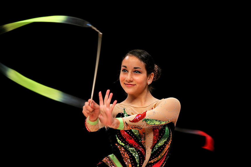 Alexandra Orlando of Canada performs with ribbon at World Games from Duisburg, Germany on July 21, 2005.  Event finals in rhythmic gymnastics are only held at World Games. (Photo by Tom Theobald)