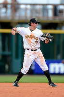 Bradenton Marauders infielder Dan Gamache #10 during a game against the Fort Myers Miracle at McKechnie Field on April 7, 2013 in Bradenton, Florida.  Fort Myers defeated Bradenton 9-8 in ten innings.  (Mike Janes/Four Seam Images)