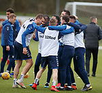 05.02.2019: Rangers training: The white bib team at training celebrate with not quite a huddle as Gareth McAuley makes sure it doesn't complete all the way around