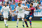 Lucas Vazquez Iglesias of Real Madrid (L) fights for the ball with Ivan Lopez Alvarez, Ivi, of Levante UD (R) during the La Liga match between Real Madrid and Levante UD at the Estadio Santiago Bernabeu on 09 September 2017 in Madrid, Spain. Photo by Diego Gonzalez / Power Sport Images