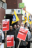 PCS Union demonstrators with posters outside Job Centre Plus in Derby.