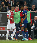 Wayne Rooney of Manchester United acts as peacemaker between Hakim Ziyech of Ajax and Marcus Rashford of Manchester United during the UEFA Europa League Final match at the Friends Arena, Stockholm. Picture date: May 24th, 2017.Picture credit should read: Matt McNulty/Sportimage
