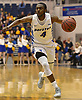 Desure Buie #4 of Hofstra University eyes the net during the first half of non-conference NCAA men's basketball game against Mt. St. Mary's at Mack Sports Complex in Hempstead, NY on Friday, Nov. 9, 2018