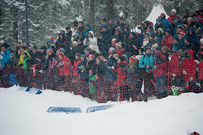 HOLMENKOLLEN, OSLO, NORWAY - March 16: Fans during the cross country 15 km (2 x 7.5 km) competition at the FIS Nordic Combined World Cup on March 16, 2013 in Oslo, Norway. (Photo by Dirk Markgraf)