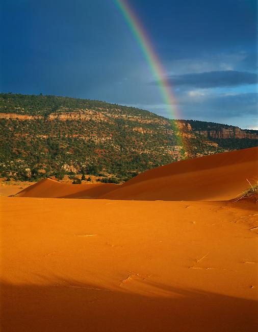 Rainbow; stormglow; sand dunes; Coral Pink Sand Dunes State Park; Utah