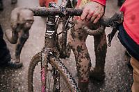 muddy post-race bike<br /> <br /> Junior Men's Race<br /> UCI CX Worlds 2018<br /> Valkenburg - The Netherlands