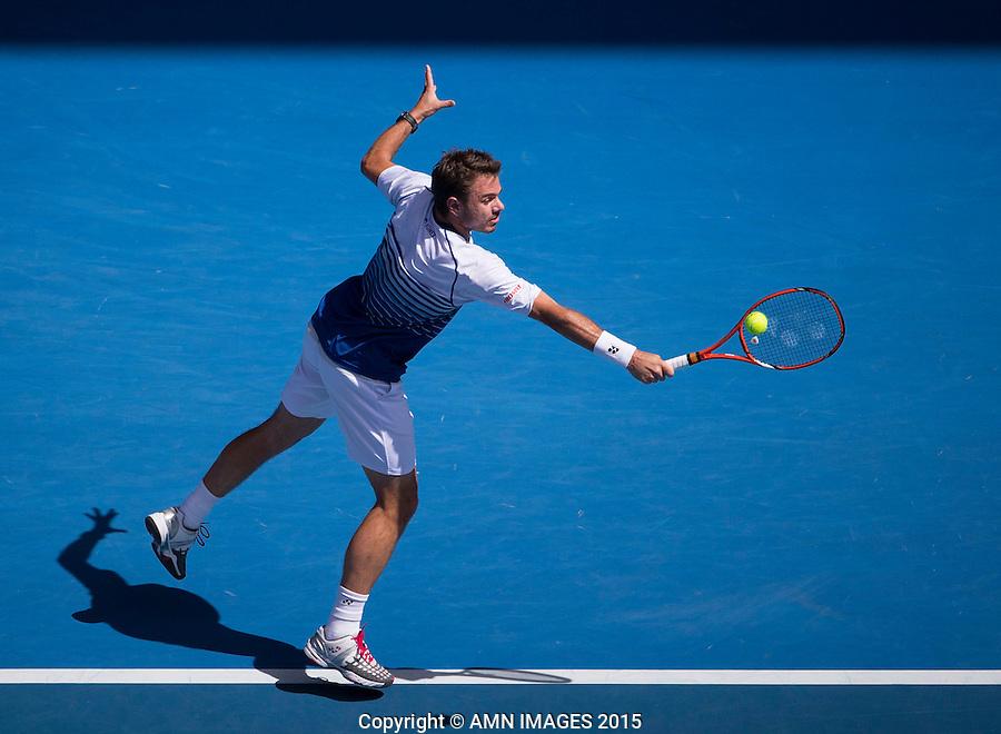 STANISLAS WAWRINKA (SUI)<br /> <br />  - Australian Open 2015 - Grand Slam -  Melbourne Park - Melbourne - Victoria - Australia  - 28 January 2015. <br /> &copy; AMN IMAGES