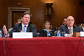 Jay Clayton, Chairman, United States Securities and Exchange Commission, left, and J. Christopher Giancarlo, Acting Chairman, Commodity Futures Trading Commission, right, testify before the US Senate Committee on Appropriations Subcommittee on Financial Services and General Government hearing to examine proposed budget estimates and justification for fiscal year 2018 for the SEC and the CFTC on Capitol Hill in Washington, DC on Tuesday, June 27, 2017.<br /> Credit: Ron Sachs / CNP